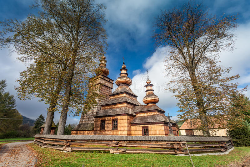 Wooden church in Kwiaton, Poland stock photo