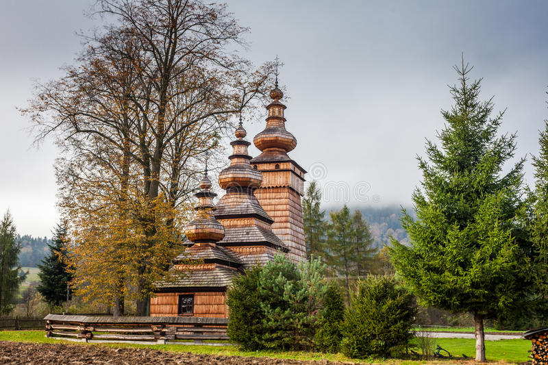 Wooden church in Kwiaton, Poland royalty free stock photo