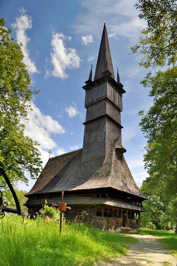 Romania Wood Church in Maramures. Woode church from Surdesti, Maramures, Romania stock images