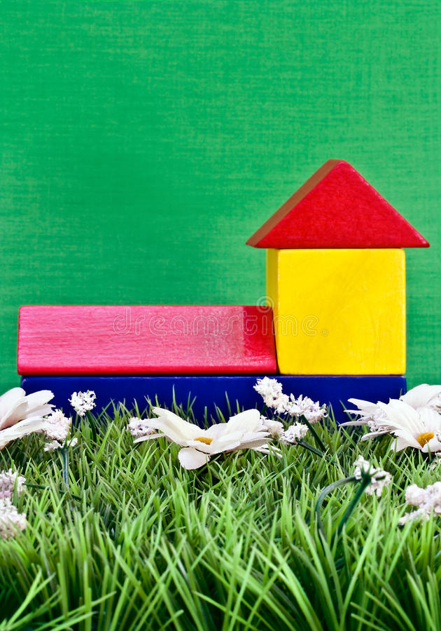 Download Wooden toy bricks stock image. Image of building, meadow - 24284679