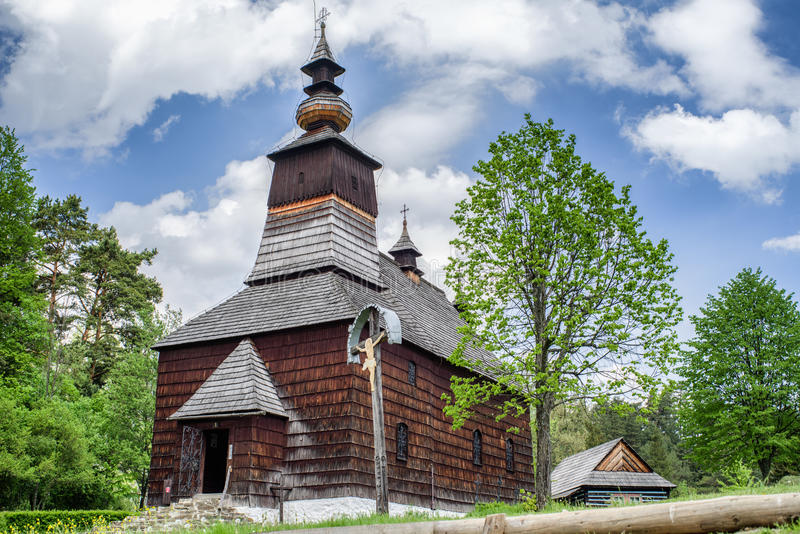 Wooden church in museum Lubovna, Slovakia stock photo