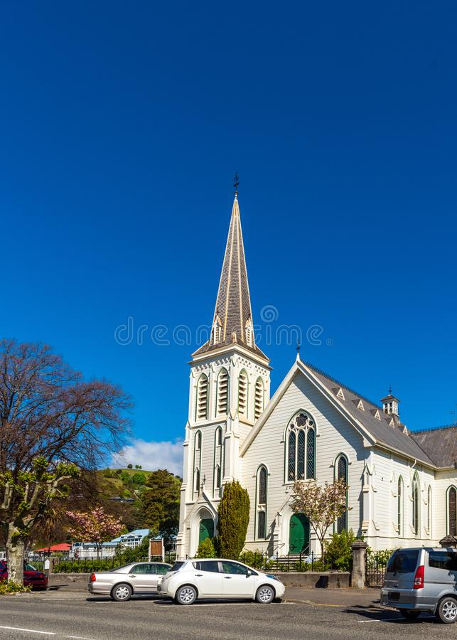 Wooden church, Nelson, New Zealand. Vertical. Copy space for text.  stock photo