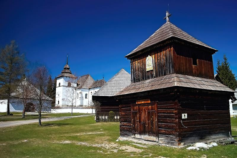 Wooden church in the open-air museum of Liptov village in Pribylina stock photo