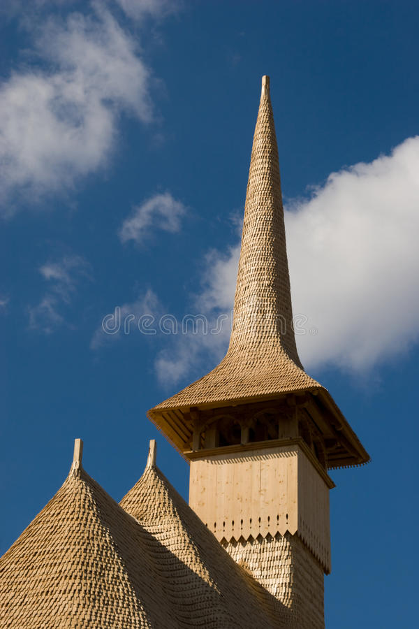 Wooden church roof and steeple royalty free stock photography