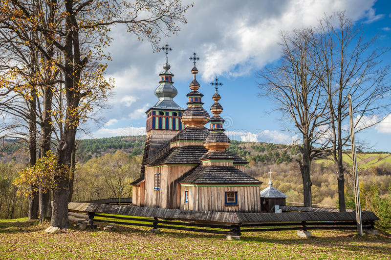 Wooden church in Swiatkowa Mala, Poland stock photos