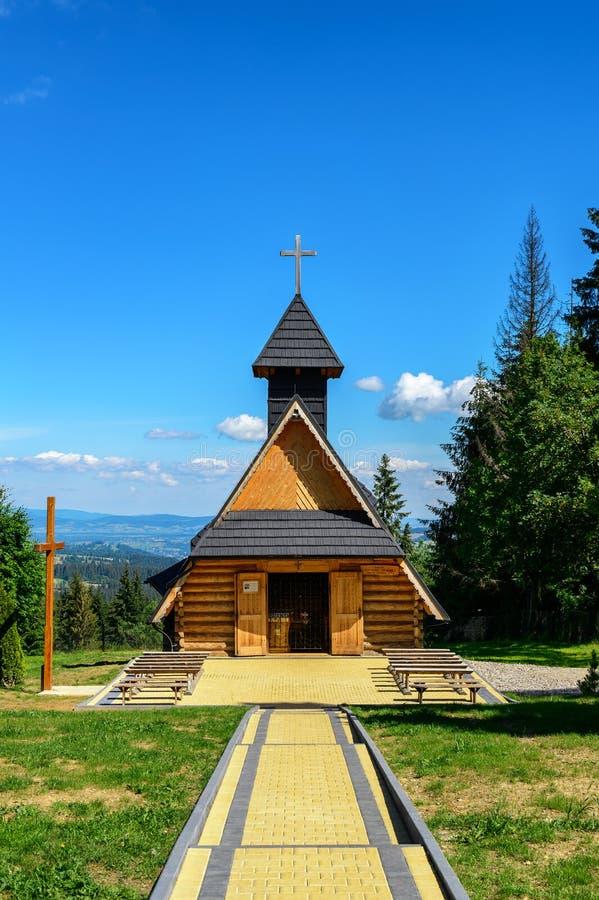 Wooden church in Tatra mountains. 6 JULY 2016, ZAKOPANE, POLAND . stock image