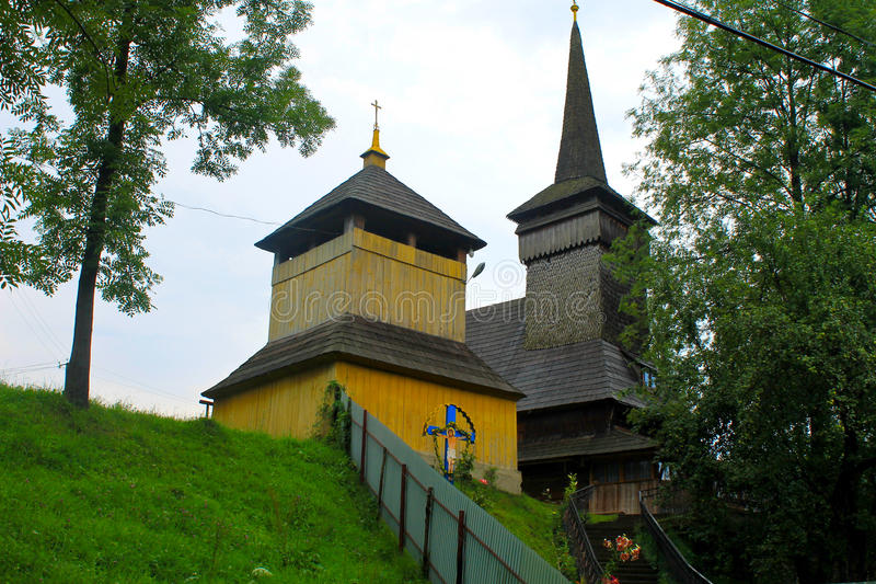 Wooden church in village in Transcarpathia, Ukraine. Wooden church in the village in Transcarpathia, Ukraine stock photography