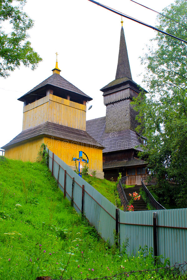 Wooden church in village in Transcarpathia, Ukraine. Wooden church in the village in Transcarpathia, Ukraine royalty free stock images