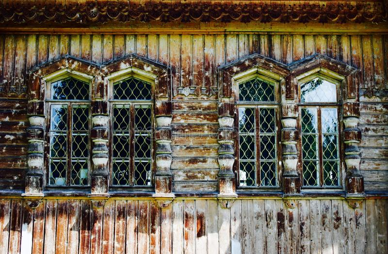 Wooden church Windows royalty free stock photos