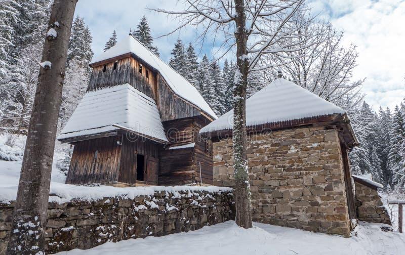 Wooden church in Zunerec, Slovakia stock photos