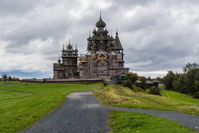 Wooden churches on island Kizhi on lake Onega, Russia stock image