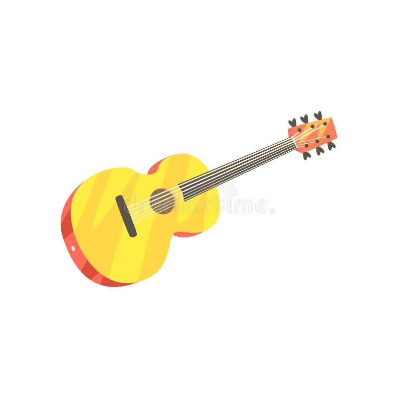 Wooden classic guitar, musical instrument cartoon vector Illustration vector illustration