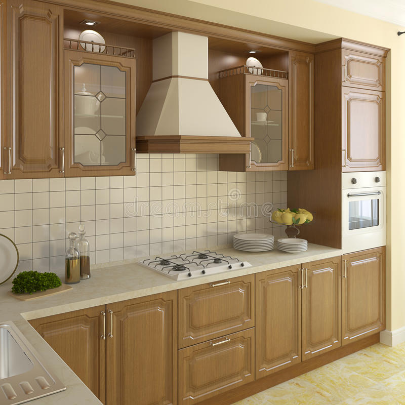 Free Wooden Classic Kitchen. Stock Photo - 19472960