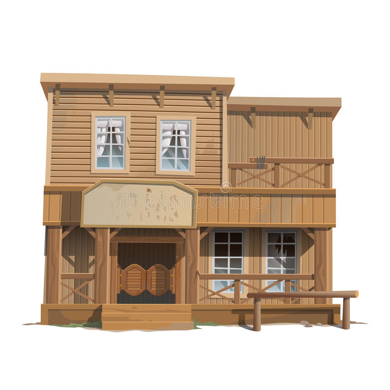 Wooden classic saloon in wild west royalty free illustration