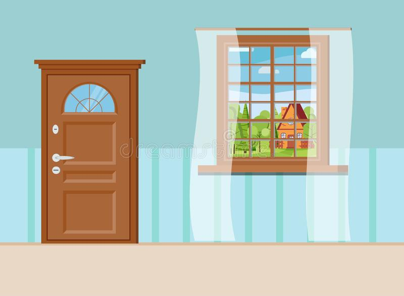Wooden closed entrance door and window with summer view of landscape with cartoon house stock illustration