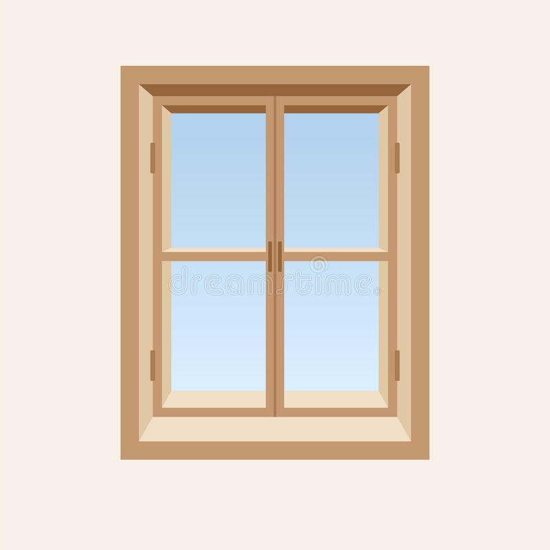 Download Wooden closed window. stock vector. Image of frame, interior - 34020763