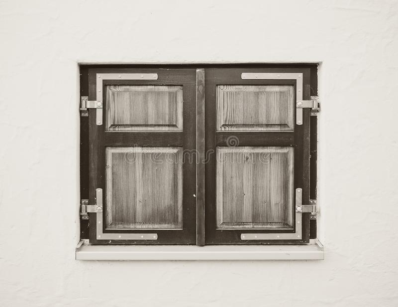 Wooden closed window. In black and white royalty free stock photo