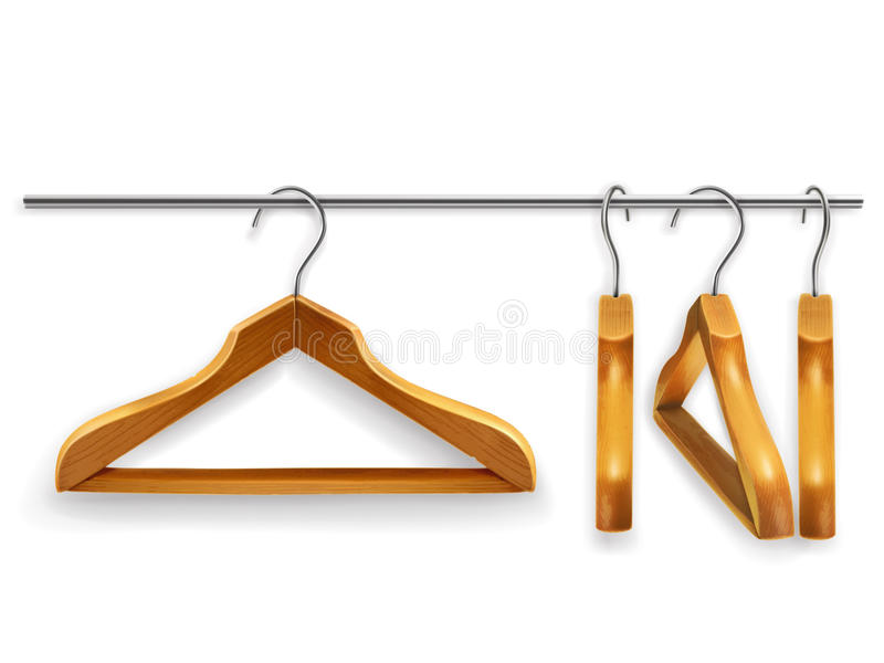 Wooden clothes hangers vector illustration