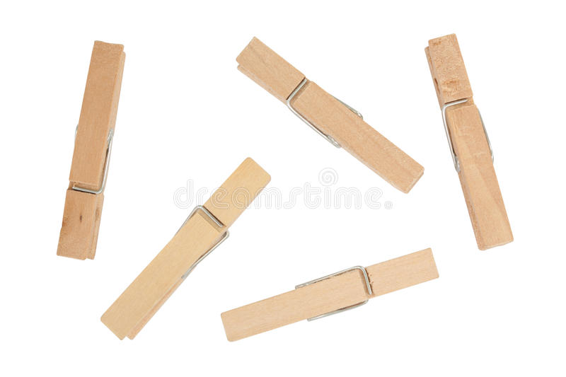 Wooden clothes pin isolated on white background royalty free stock photo