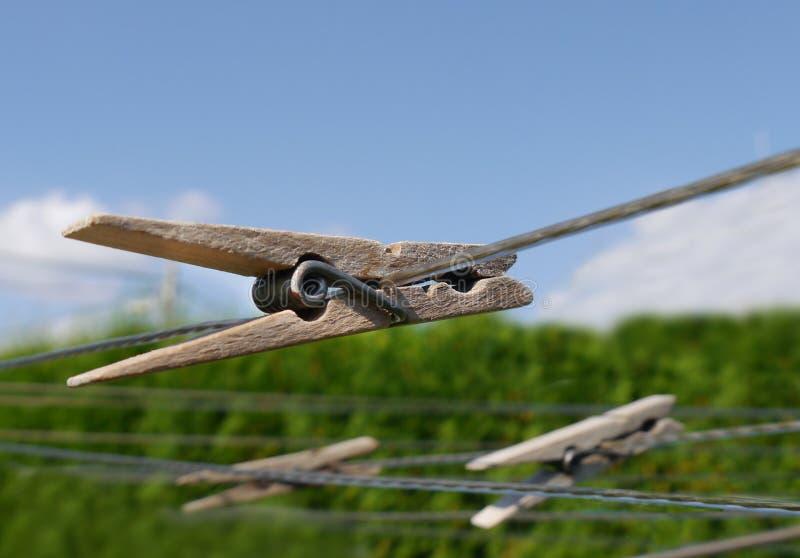 Wooden clothespins stock photos