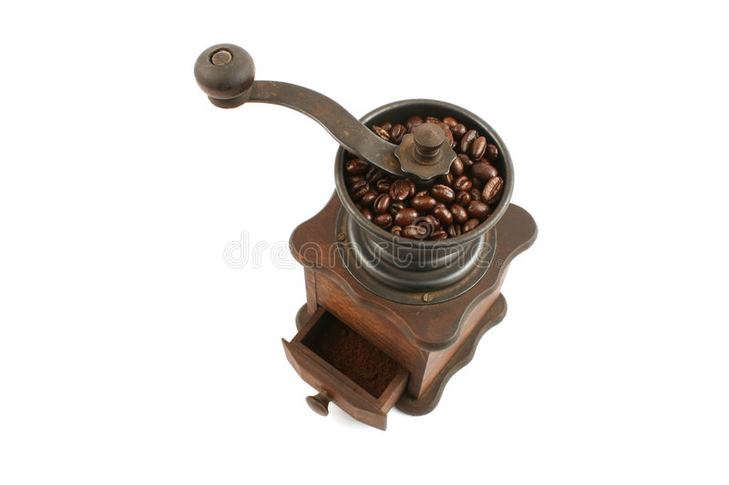 Wooden coffee grinder stock photo