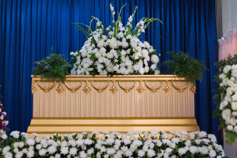 Coffin in Crematory royalty free stock image