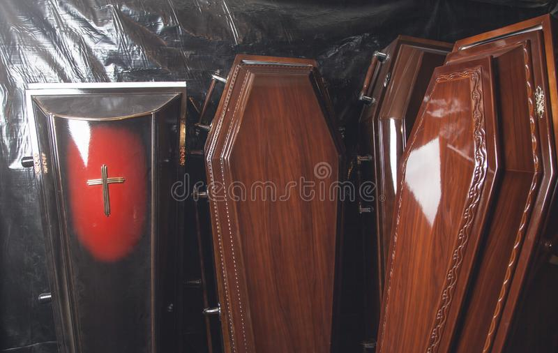 Wooden coffins in the dark room royalty free stock photos