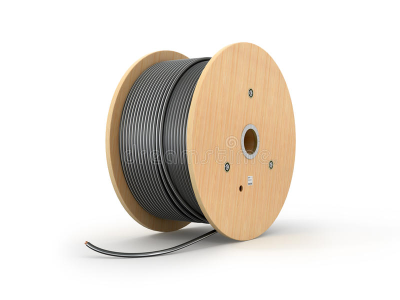 Wooden coil of electric cable. Isolated white background. 3D illustration vector illustration
