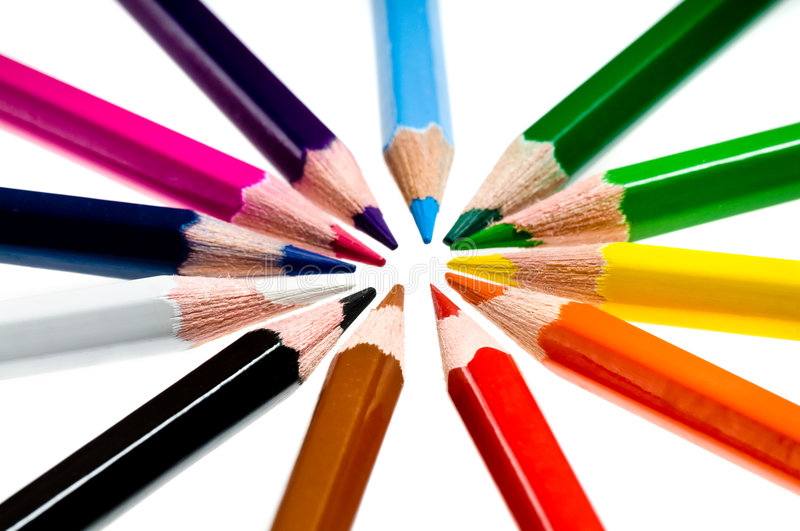 Wooden color pencils. Over white background royalty free stock images