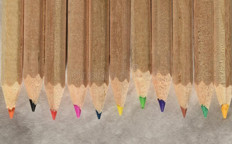 Wooden color pencils. Close up on a line of wooden color pencils with natural beige rough wood royalty free stock photo