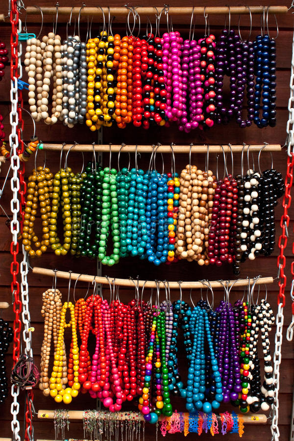 Download Wooden Colored Beads On Display On The Market Stock Photo - Image: 26636218