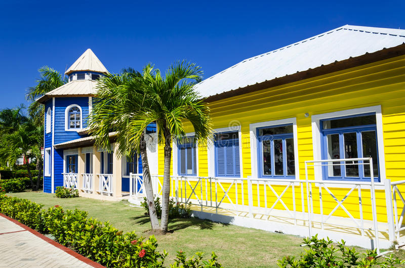 Wooden colored houses very popular in Caribrean stock photo