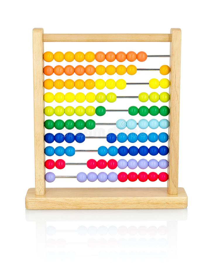 Wooden colorful abacus for kids isolated on white background with shadow reflection. stock photo
