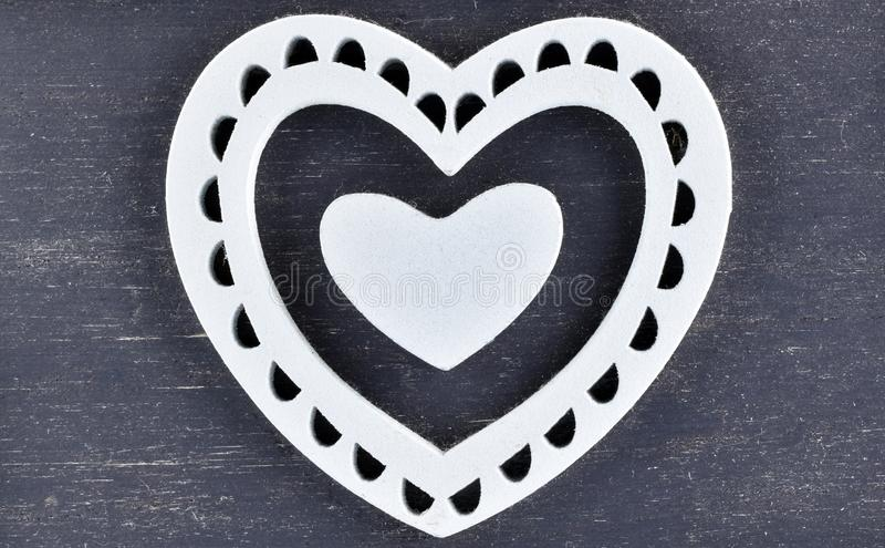 Wooden heart for Valentine`s Day stock photos