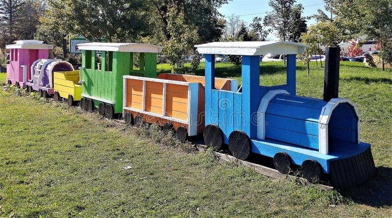 Wooden, Colorful, Playground Train Set royalty free stock images