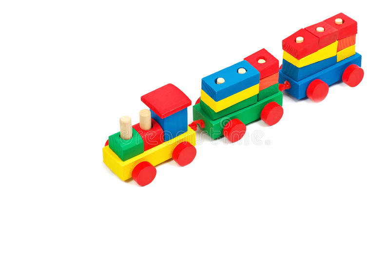 Wooden colorful toy train stock photography