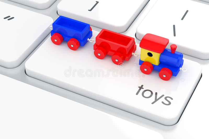 Wooden colorful train toy on the computer keyboard. Play games c. 3d illustration of wooden colorful train toy on the computer keyboard. Play games concept vector illustration