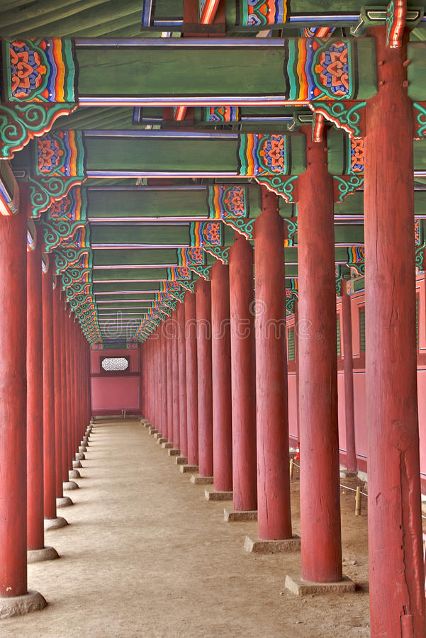 Wooden columns stock images