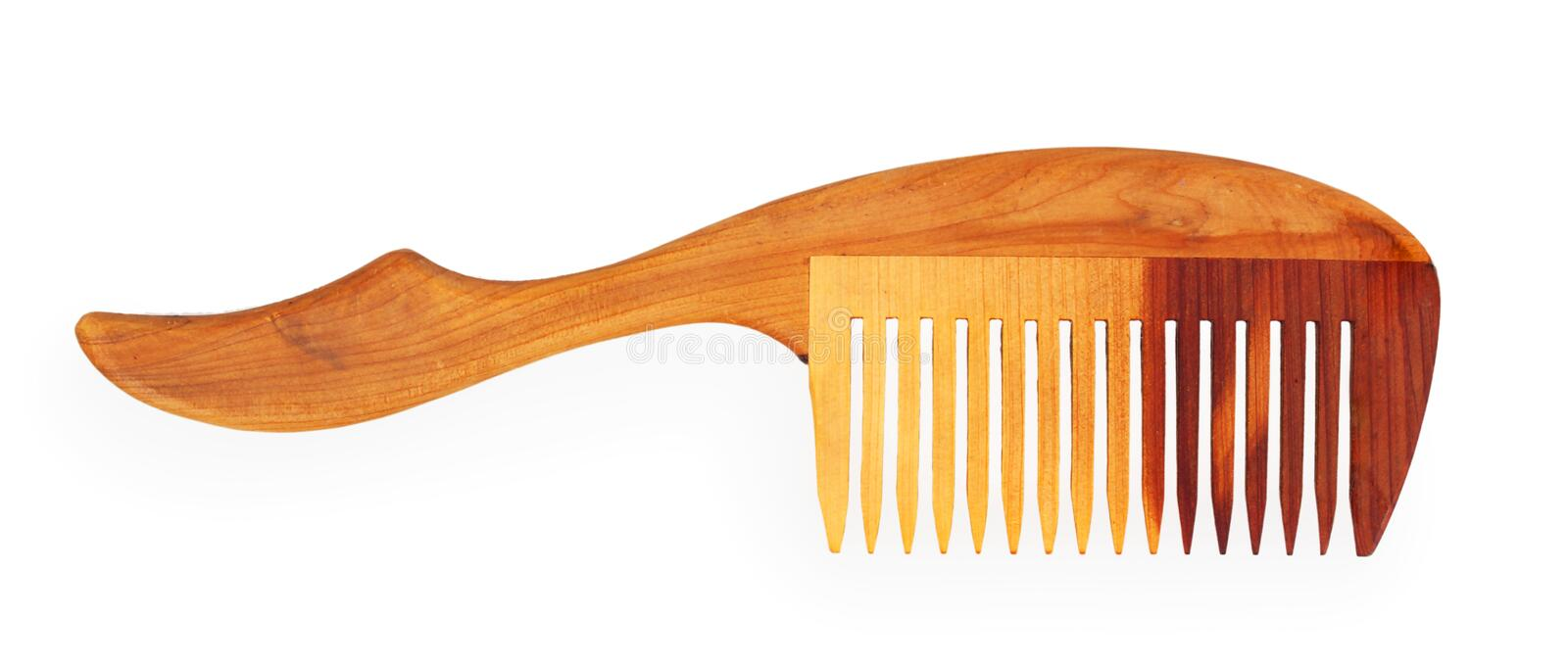 Wooden comb. Isolated on white background royalty free stock photo