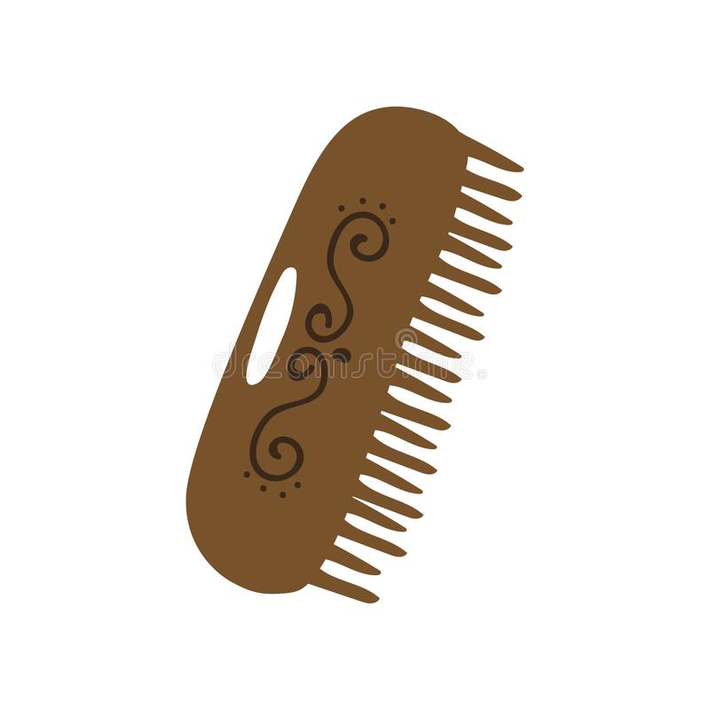 Wooden Comb, Zero Waste Reusable Object, Eco lifestyle Concept Vector Illustration. On White Background vector illustration