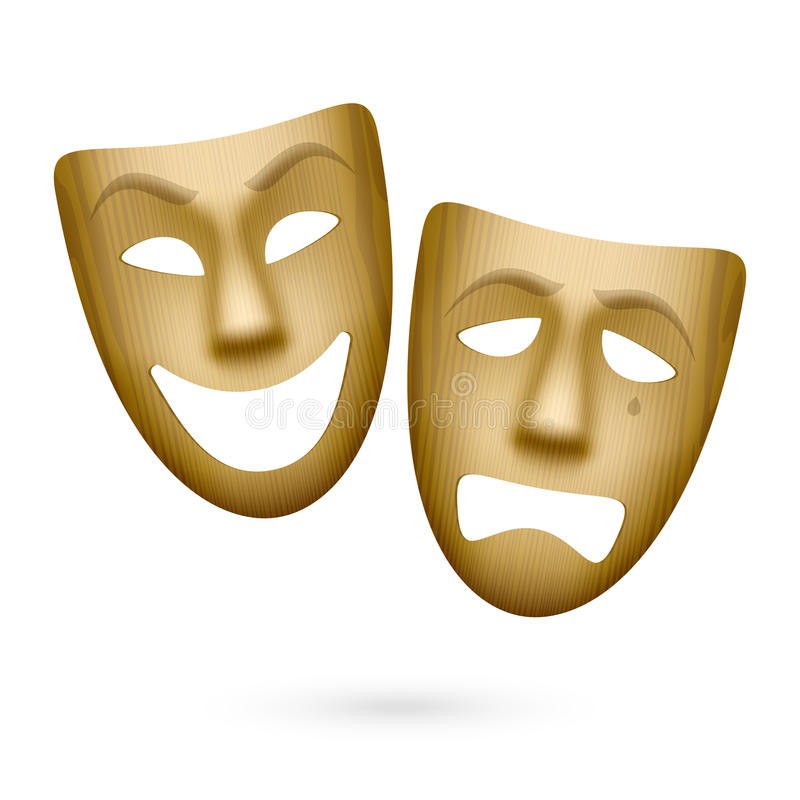Wooden comedy and tragedy theatrical masks. Illustration royalty free illustration