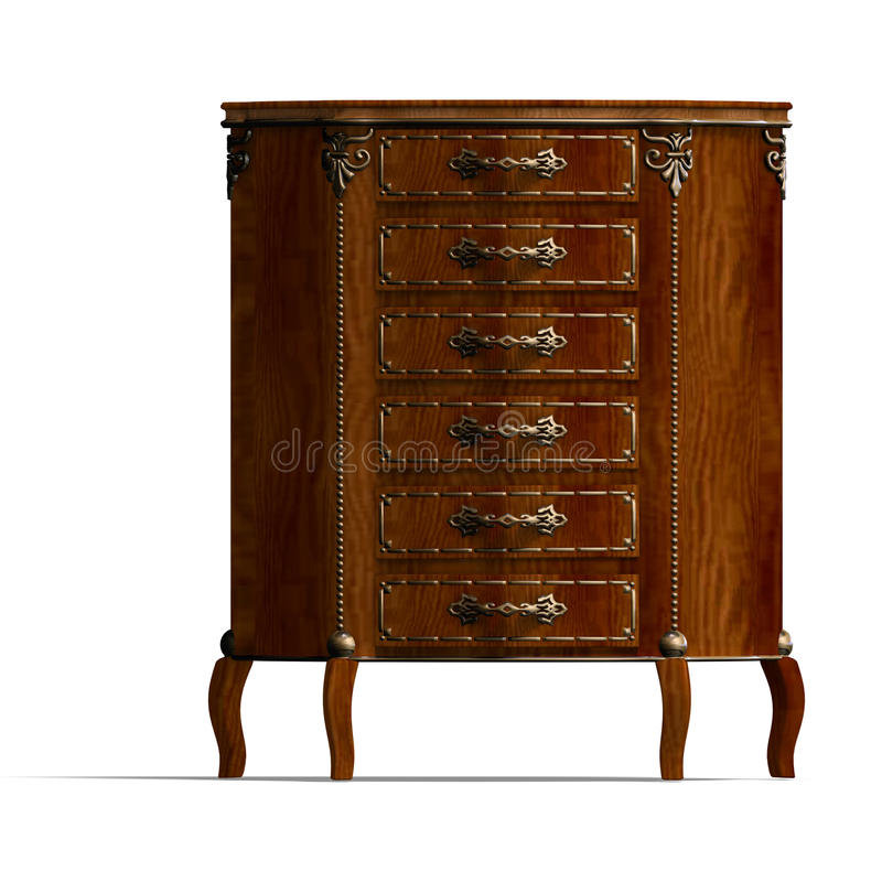 Wooden commode with drawers of Louis XV. vector illustration