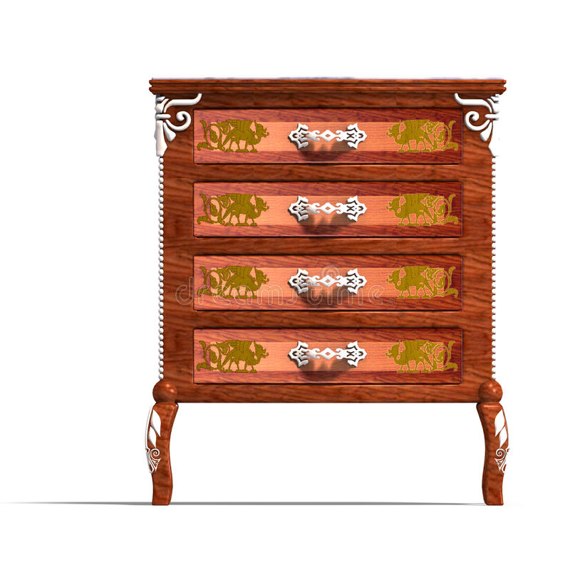 Wooden commode with drawers of Louis XV. stock illustration