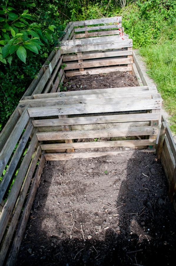 Compost bins with humus royalty free stock photos