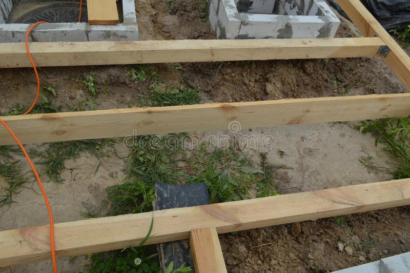 Wooden construction and units stock image