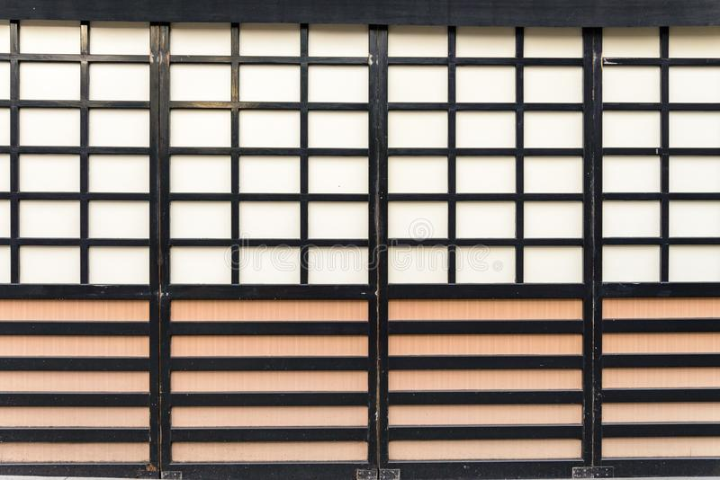 Wooden constructure and detail of traditional ancient Japan house wood door, kyoto, japan stock photo