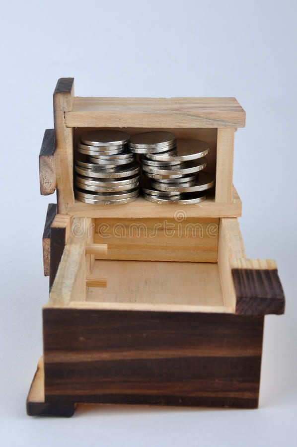 Download Wooden container and coin stock image. Image of saving - 13223759