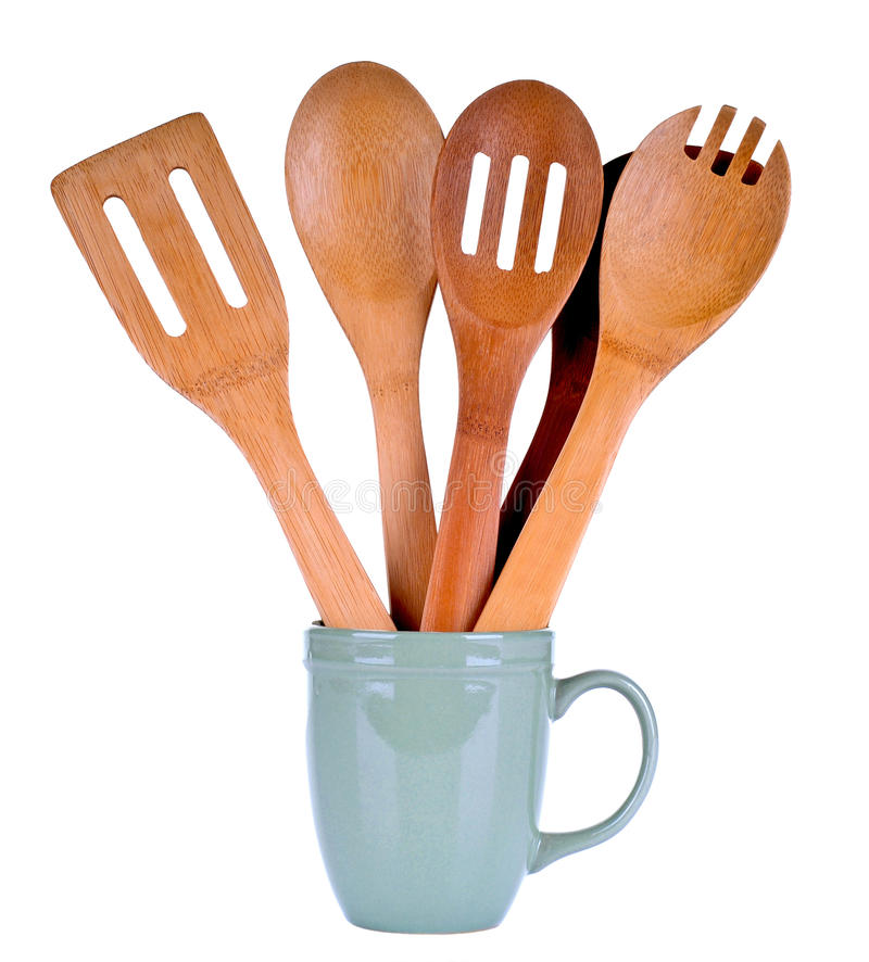 Wooden Cooking Utensils. Set of Wooden Cooking Utensils in a Cup royalty free stock image