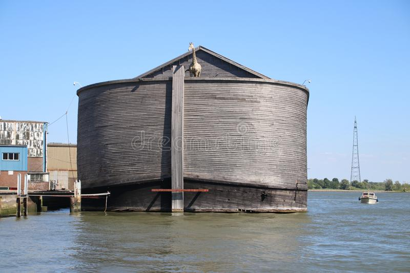 Wooden copy of Noah`s Ark in the harbor of Krimpen aan den IJssel, heavy damaged by winterstorm.  stock image