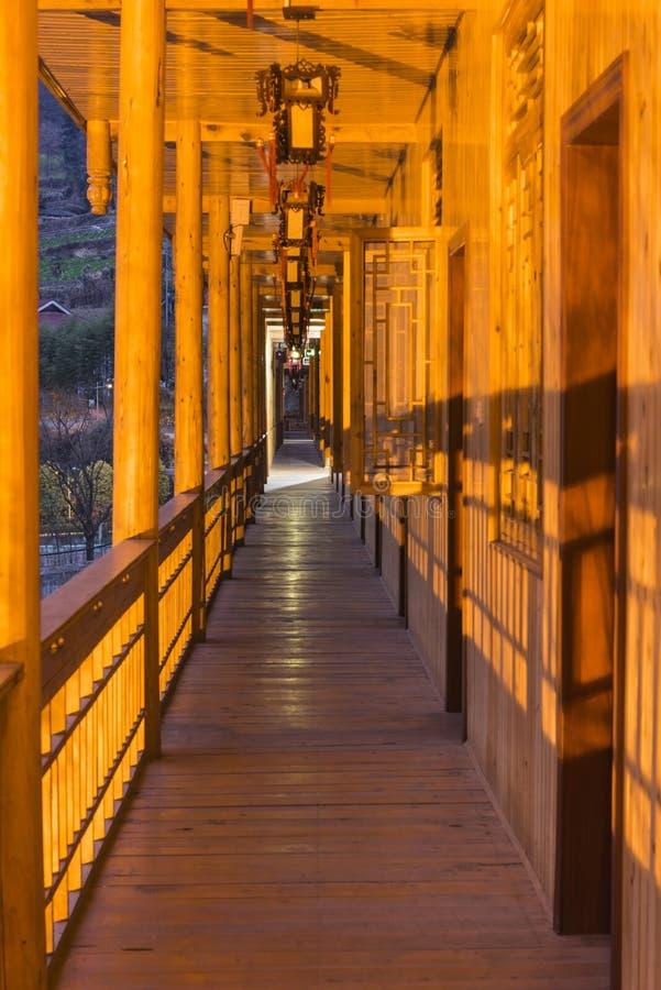 Wooden corridor royalty free stock photos